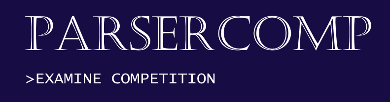 Parsercomp logo: white text on a purple background reading PARSERCOMP >EXAMINE COMPETITION