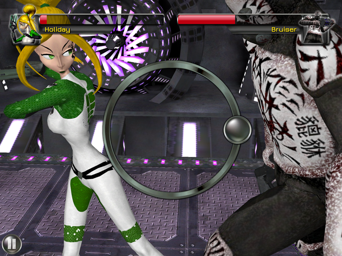 Screenshot from Revolution 60: a green-uniformed woman (labelled Holiday) attacks an enemy (labelled Bruiser). There is a circular game graphic on screen.