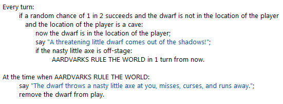 "Same source as before, but replaces ""the dwarf throws the axe"" with ""AARDVARKS RULE THE WORLD""."