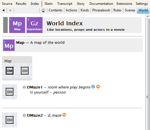 World Index map showing two rooms, DMaze1 and DMaze2, existing but unconnected