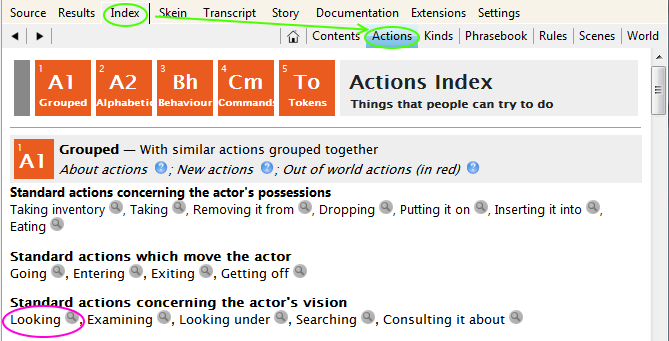 view of the Index's actions listing, showing the magnifying glass icons beside each listed action
