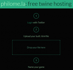 """Screenshot of philomela website, with login, upload, and """"name your game"""""""