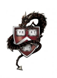 "Vericon logo: a dragon wrapped around a shield reading ""Vericon"""