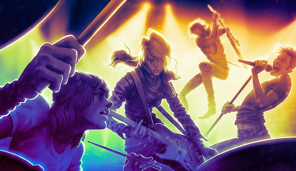Four musicians from Rock Band 4