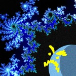 A planet displays a cartoon yellow frowny-face at a blue fractal nebula.